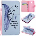 Blue Feather Pu Leather Wallet Case Flip Cover Stand Card Slot For Cell Phones