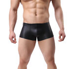 GAY UNDERWEAR,MENS FAUX LEATHER BOXER SHORTS,SEXY,UNDERWEAR,NEW,STRAIGHT - C12
