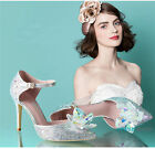 Cinderella Crystal Leather Shoes Womens High Heel Bride Wedding Party Club Shoes