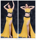 New Arrival 2017 Adult Belly Dancing Costumes Set Sleeveless Top& Slit Skirt M L