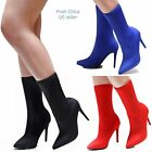 New Women BDd Black Red Stretchy Pointy Toe Stiletto Heel Booties Mid-Calf Boots