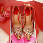 Bride wedding shoes women red shoes high-heeled embroidered EUR 34--39