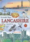 LANCASHIRE BLACKPOOL TOWER LANCASTER CASTLE HOLIDAY METAL PLAQUE TIN SIGN 1307