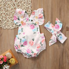 Baby girls Floral romper bow suit. casual party summer photo shoot 457
