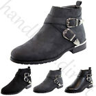 New Flat Ankle Boots Casual Buckle Side Zip Comfy Low Heel Womens Ladies Shoes