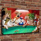 Home Hang Decor Art Dog Dice Gambling Oil Painting Printed on Canvas Unframed
