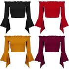 New Off Shoulder Frill Bardot Ruffle Flared Bell Sleeve Bodycon Stretch Crop Top