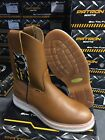MENS WORK BOOTS GENUINE LEATHER WESTERN COWBOY PULL ON BOOTS HONEY BOTAS