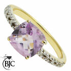 BJC® 9ct Yellow gold Amethyst & Diamond Solitaire size O engagement ring R242