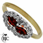 BJC® 9ct Yellow gold Garnet & Diamond Cluster Dress Ring size L ring R125