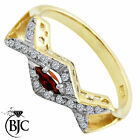 BJC® 9ct Yellow gold Garnet & Diamond Marquise Cross Over Ring size O ring R126