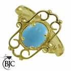 BJC® 9ct Yellow gold Turquoise Solitaire Victorian Ring Size N engagement R169