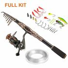 PLUSINNO Spinning Rod and Reel Combos FULL KIT Telescopic Fishing Rod Pole US