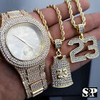 Luxury Hip Hop Iced Out Lab Diamond Watch & Number 23 Jersey Necklace Combo Set image