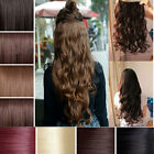 """UK SELLER clip-in one-piece full head hair extensions 24"""" straight wavy"""
