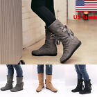 Us Women's Pu Flat Lace Up Slouch Mid Calf Riding Casual Short Boots Shoes Size
