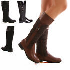 Ladies Womens Winter Riding Quilted Knee High Zip Faux Leather Boots Shoes Size