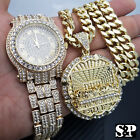Men Hip Hop Iced Out Lab Diamond Watch & Big Last Supper pendant Necklace Set image
