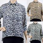 UK Ladies Womens Fashion Leopard Print Blouse Shirt Top Blue Green Yellow Shirt