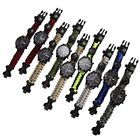 6 in 1 Outdoor Survival Watch Bracelet with Compass Flint Fire Starter Paracord