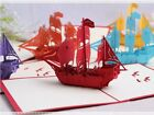 Handmade Art Paper Sailing Boat 3d Pop Up Greeting Card Birthday Christmas Card