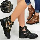 Ladies Womens Ankle Boots Studded Chelsea Buckle Cut Out Low Heel Biker Shoes