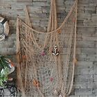 Mediterranean Wall Dcor Style Decorative Fish Net With Anchor And Shells Beige