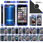 "For Apple iPhone 8 (4.7"") Hybrid Grip Defender Kickstand Blue Bumper Case"