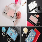 For iPhone 7 8 X Rose Flower PU Leather Handbag Strap Flip Wallet Card Cover