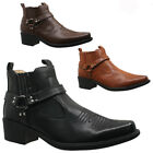 MENS WESTERN COWBOY RIDING ANKLE BOOTS  CUBAN HEEL SLIP ON HARNESS BIKER SHOES