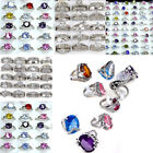 20pcs Wholesale Mixed Lots Jewelry Crystal Stainless Steel Women's Rings