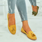 New Womens Studded Ballerina Ladies Fringe Tassel Slip On Ballet Shoes Size Uk