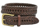 Tommy Hilfiger Men's Braided Weaved Leather Dress Belt - Tan - Sizes 34-42 NWT