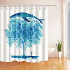 Big Blue Whale and girl Shower Curtain Bathroom Fabric & 12Hooks 71*71inches