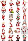 65 Mixed Mr & Mrs Santa Christmas Small Sticky White Paper Stickers Labels NEW