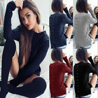 New Womens Knitted Sweater Back Lace Up Jumper Ladies Casual Pullover Warm Tops