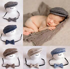 Newborn Baby Boys Infant Peaked Beanie Cap Hat + Bow Tie Photography Props Set