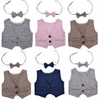 Newborn Baby Boys Infant Waistcoat Vest + Bow Tie Photography Props Outfit Set