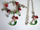 Girls Kids Acrylic Bead Bracelet Necklace Ariel Little Mermaid Charm FREE Bag K9