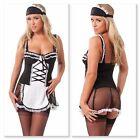 Sexy French Maids Outfit Ladies Fancy Dress Stockings Suspenders G String S M L