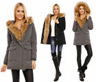 Damen Jacke Parka Mantel Blogger Winter XXL Fell Pelz Kapuze 7994