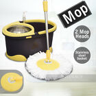 360 Degree Spin Mop & Spin Dry Bucket with 2 Microfibre Mop Heads Purple Green