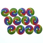 """100/200 5/8"""" Printed Rainbow circle 2-Holes Wooden Buttons Fit Sewing Craft 15mm"""