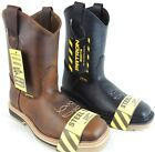 Men's Steel Toe Work Boots Safety Pull On Oil Resistant Genuine Leather