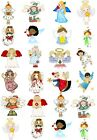 65 Mixed Christmas Angels Small Sticky White Paper Stickers Labels NEW