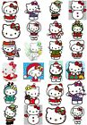 24 Mixed Hello Kitty Christmas Large Sticky White Paper Stickers Labels NEW