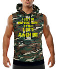Men's Clips On The Smith Machine Camo Sleeveless Vest Hoodie Fitness Workout Gym