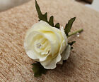 Artificial IVORY WHITE Silk Rose with Diamante Wedding Groom Buttonhole Flower