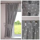 STARS GREY Curtains  Nursery Baby Room TAB TOP CURTAINS TIEBACKS 150 x 150 CM