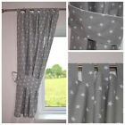 STARS GREY Curtains  Nursery Baby Room TAB TOP CURTAINS TIEBACKS 150 x 180 CM
